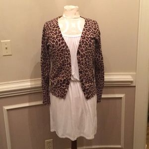 Leopard Cardigan White Dress Outfit